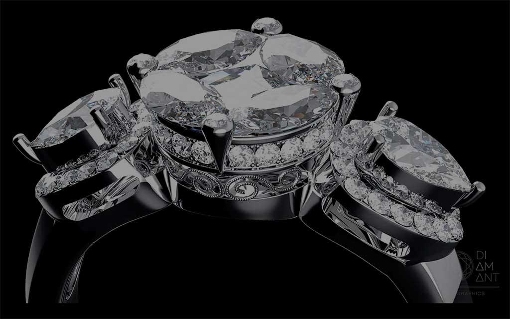 Rendered diamond ring video
